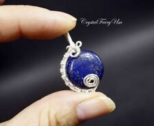 Wrapped Lapis Lazuli Pendant - Sterling Silver Blue Lapis Lazuli Necklace Wire