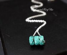 Turquoise Necklace - Turquoise Jewelry - Sterling Silver Turquoise Bar Necklace