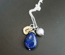 Initial Necklace - Freshwater Pearl Lapis Lazuli Necklace in Sterling Silver - L