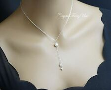 Single Pearl Necklace - Genuine Freshwater Pearl Lariat Necklace - Y Chain Neckl