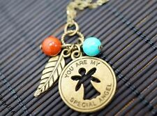 Special Angel Necklace, You Are My Angel Leaf Necklace Children Necklace Bronze