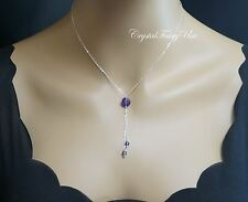 Amethyst Necklace? Sterling Silver Lariat Necklace ? February Birthstone
