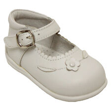 Angels New York 0055702 Girls White Leather Hook and Loop Mary Janes Dress Shoes