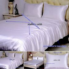 19 Momme 100% Pure Silk Duvet Quilt Cover Sheets Pillow Cases Seamed White
