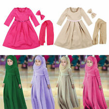 3 pcs Girls Long dress/Scarf/Bowknot Muslim Kaftan Abaya Islamic Long Maxi Dress