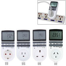 7 Day Digital Programmable 12/24h Timer Switch LCD Plug-in Socket US EU UK Plug