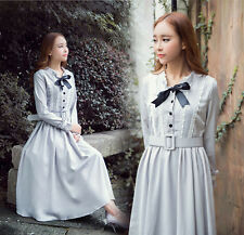 Lolita Lady Vintage Elegant Lace Bowknot Long Sleeve Dress Mori Girl Dresses