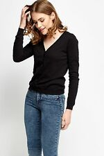 Ladies V Neck Long Sleeve Fine Soft Knit Button Cardigan Tops in 7 COLORS