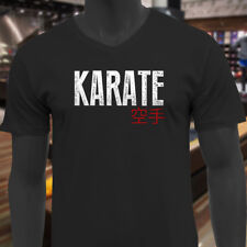 KARATE KANJI FIGHTING TRAINING MMA KUNG FU JAPAN Mens Black V-Neck T-Shirt