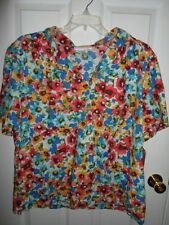 CATHY DANIELS BLUE PINK GREEN YELLOW FLORAL COTTON TOP CAMP SHIRT 1X 3X NEW