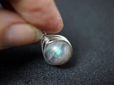 Wrapped Rainbow Labradorite Necklace Sterling Silver Necklace Tiny Silver Simple