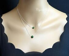 Tiny Jade Necklace - Sterling Silver Layered Necklace - Emerald Jade Pendant - M