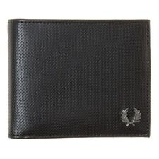New Mens Fred Perry Black Pique Texture Billfold Pvc Wallet Wallets
