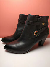 NEW Womens Shoes Anne Klein Black Leather Women Ankle Boots/Booties $120 retail