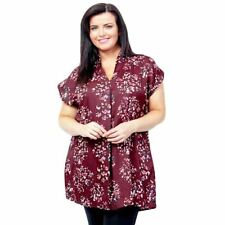 New Plus Size Burgundy Kaftan Top Tunic Ladies Blouse 18 - 32