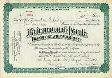 Fairmount Park Transportation Co Philadelphia Trolley Stock Certificate PTC PRT