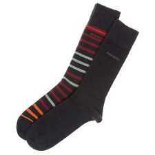 New Mens BOSS Grey TWIN PACK STRIPE AND PLAIN Cotton/Polyester Socks Casual
