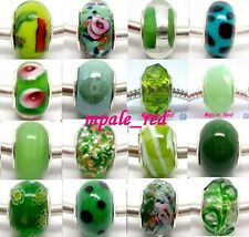 Mixed Green Beautiful Lampwork Glass Big Hole Beads Fit European Charm Bracelet