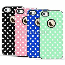 Hybird TPU White Polka-dot Skin Shockproof Case Cover For Apple iPhone 5 5S SE
