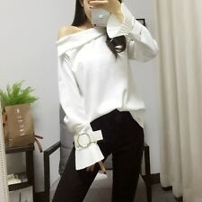 2017 New Simple Women Spring Fashion Korean Off Shoulder Flare Sleeves Shirt Top