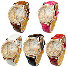 Fashion Women Lady Eiffel Tower Dial Faux Leather Band Quartz Wrist Watch Proper