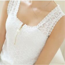 Women Black and White  Color O-Neck Floral  Lace Sleeve less Top
