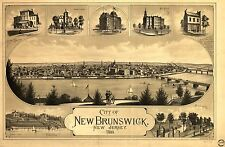 Photo Reprint Antique American Cities Towns States Map New Brunswick