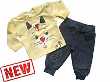 """Baby Boys/Girls HIGH QUALITY!  Tracksuit """"YELLOW CAT"""" Set* Top & Joggers* Outfit"""