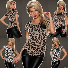 Sexy Women Clubbing Top Leo Print  Blouse New Ladies Party Shirt Size 8 10 12