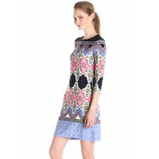 Women's Ethnic Style Vintage Floral Print 3/4 Sleeve Hippie Shift Tunic Dress