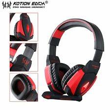 G4000 USB Stereo Gaming Headphone Microphone Volume Control LED Light PC Game XP