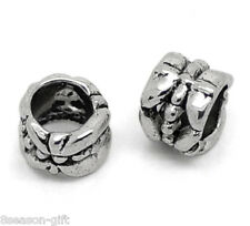 Wholesale Lots HX Silver Tone Tube Spacer Beads Fit Charm Bracelet