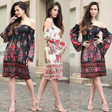 Ladies Boho Long Sleeve Strapless Floral Chiffon Mini Dress Summer Beach Party