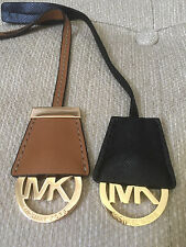 NEW MICHAEL KORS BLACK BROWN LEATHER SAFFIANO HANG TAG FOB KEYCHAIN RARE