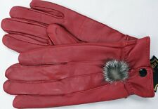 WOMEN'S RED LAMBSKIN LEATHER WINTER DRIVING GLOVES GV205RD LARGE X LARGE