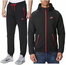 Nike Men's Black Full Red Zip Tracksuit Hoody and Joggers Size S-XL
