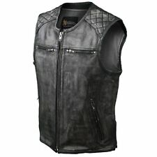 Xelement Urban Armor Men's Thick Grey Quilted Shoulder Leather Motorcycle Vest