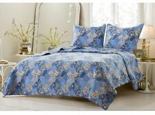 Blue Quilt Set Twin/TXL Full/Queen King/CKing 2-3 Piece Floral Patchwork Shams