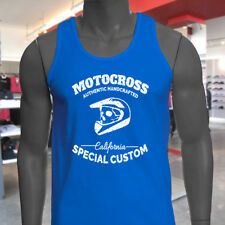 MOTOCROSS CALIFORNIA SKULL BIKER DIRT FREESTYLE Mens Blue Tank Top