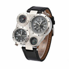 OULM Military Army Dual Time Zones Movements Watch Big Dial Leather Sports Mens