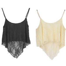 Sexy Women Loose Lace Short Sling Tops Vest Blouses Clubwear Party Beach Shirts