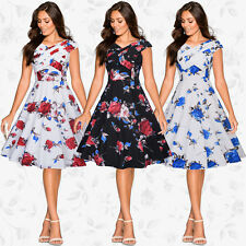 New Vintage Women's Retro 1950s Rockabilly Floral Swing Party Pin Up Dress 8-18