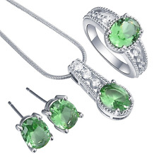 925 Sterling Silver Necklace Pendant+earring+ring Oval Green Zircon Set