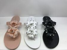 Womens Ladies Girl Toe Floral Diamante Jelly Summer Flat Flip Flop Thong Sandals