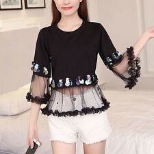 Campus Spring Korean Women Girl Fashion Flare Sleeve Sequins Lace Shirt Tops