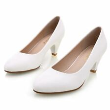Women's  leather med heels Shoes Classic Black&White Pumps Shoes