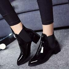 Womens pointed toe patent leather low block heel pull on ankle boots shoes Size