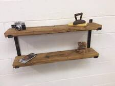SOLID WOOD 2 TIER SHELVING  SHELF SYSTEM SOLID STEEL RUSTIC INDUSTRIAL