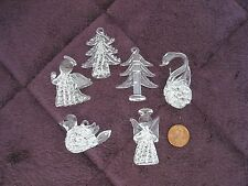 VTG LOT OF 6 SPUN CRYSTAL Hand Blown Clear Glass Christmas Ornaments figures