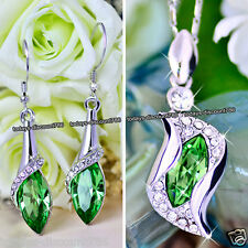 Emerald Green Crystal Necklace & Earrings Love Xmas Gift For Her Wife Mum Women
